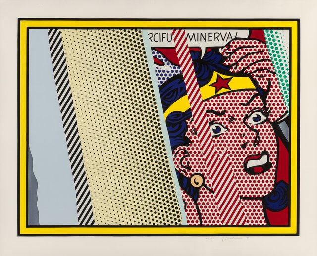 Roy Lichtenstein, 'Reflections on Minerva', 1990, Mixed Media, Lithograph, screenprint and relief print in colors, with metalized PVC collage and embossing on Somerset paper, Heritage Auctions