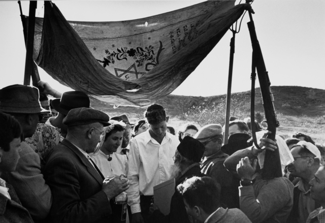 , 'Wedding under an improvised wedding canopy made with guns and pitchforks, Israel,' 1952, Vision Neil Folberg Gallery