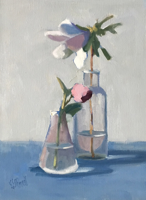 Lesley Powell, 'Beaker and Bottle with Azalea and Bud', 2019, Shain Gallery