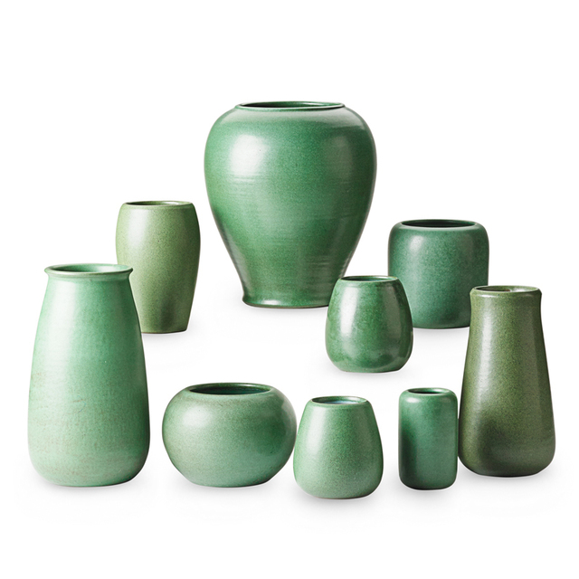 Marblehead Pottery, 'Nine Green Vases, Marblehead, MA', Early 20th C., Rago/Wright