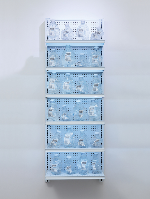 Josh Kline, 'it's clean, it's natural, we promise.', 2011, Mixed Media, 24 Duane Reade bottles boiled in their own water, plastic infused spring water and commercial metal shelving, Phillips