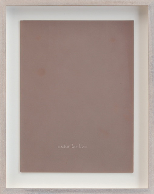 , 'Untitled (Skin too thin, agfa skin lightened through time, embossed middle),' 2012, Parrotta