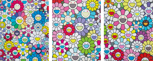 Takashi Murakami, 'A Field of Flowers Seen from the Stairs to Heaven; A Little Flower Painting: Yellow, White, and Purple Flowers; and A little Flower Painting: Pink, Purple, and Many Other Colors', 2017-18, Phillips