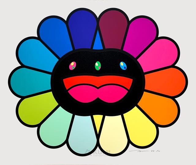 Takashi Murakami, 'Multicolor Double Face Black', 2020, Print, Silkscreen, Kumi Contemporary / Verso Contemporary