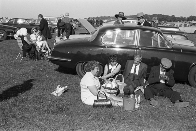, 'A day at the races, Derby Day picnic horse racing at Epsom Downs, Surrey,' 1970, Les Douches La Galerie