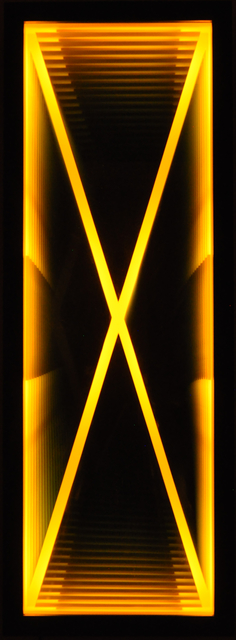 Kenneth Emig, 'Velocity - Illuminated amber yellow X, reflective light wall art', 2021, Sculpture, Light, glass, mirror, wood, theatrical paint, Oeno Gallery