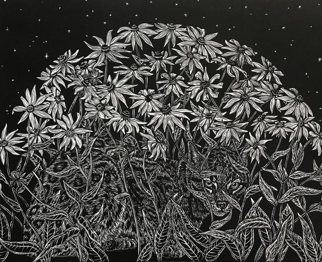 , 'Ocelot in Black-Eyed Susans,' 2018, Wally Workman Gallery