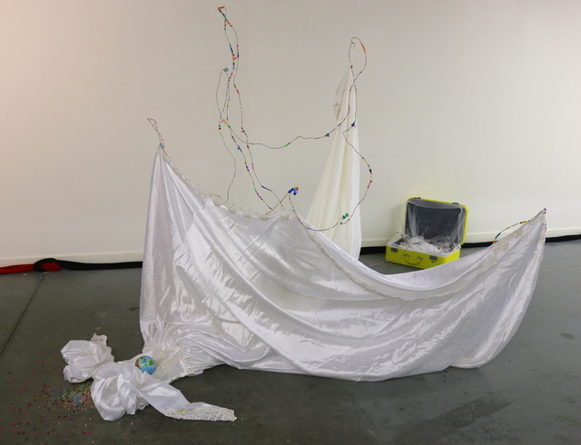 , 'White Hole (installation view, wedding dress),' 2105, Robert Kananaj Gallery