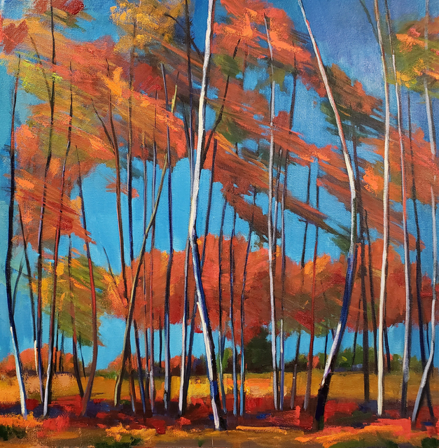 Jenn Hallgren, 'Windy Birch Patch', 2019, Painting, Oil on canvas, InLiquid