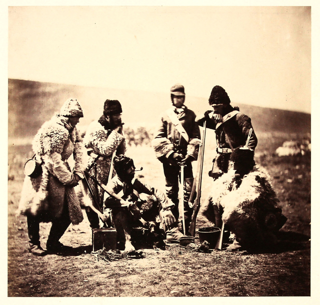 , 'Captain Pechell and Men of the 77th Regiment, Winter Dress.,' ca. 1855, Roland Belgrave Vintage Photography Ltd