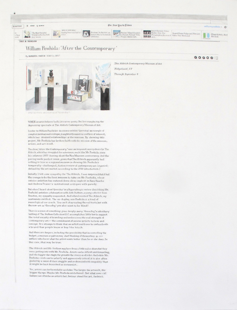 William Powhida, 'NY Times Review (After Büchel) ', 2017, Postmasters Gallery