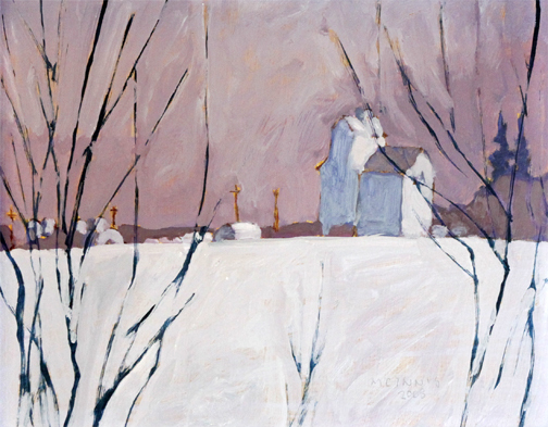 RFM McInnis, 'GRAIN ELEVATORS & BUSHES', 2008, Painting, Oil on panel, Roberts Gallery Ltd.