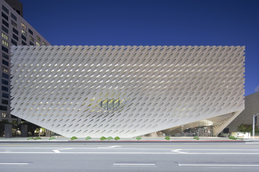 The Broad museum on Grand Avenue in downtown Los Angeles; photo by Iwan Baan, courtesy of The Broad and Diller Scofidio + Renfro