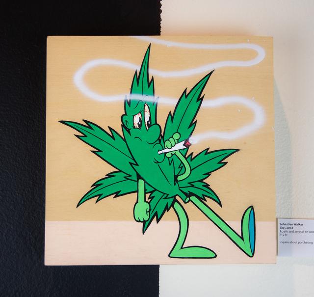 Sebastien Walker, 'Weed Leaf (1)', 2018, Painting, Acrylic and aerosol on wood panel, EWKUKS