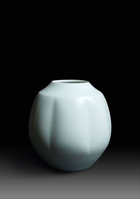 ", 'Seihakuji kabin ""Yū"", Pale blue glazed Porcelain Flower Vase ""Calm"" (T-3472),' ca. 1981, Erik Thomsen"