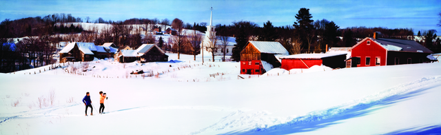 , 'Colorama 299, Christmas traditional skiers outside village, Burke Hollow, Vermont,' Displayed 12/4/67–12/25/67, George Eastman Museum