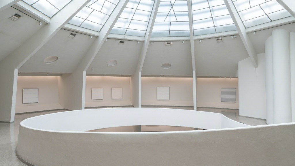 Installation View: Agnes Martin, Solomon R. Guggenheim Museum, New York, October 7, 2016– January 11, 2017. Photo: David Heald