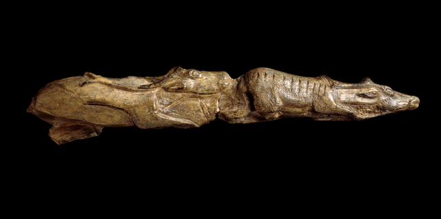 , 'Carving of swimming reindeer. Found at Montastruc, France,' ca. 11,000 BCE, British Museum