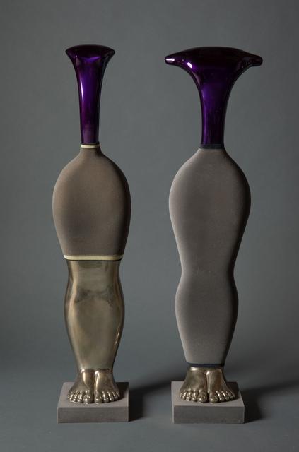 Laszlo Taubert, 'Latifah & Ramses', 2019, Sculpture, Silver plated bronze, grey velvet, colored varnish, Avran Fine Art