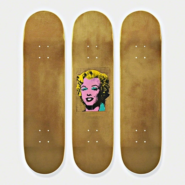 Andy Warhol, 'Gold Marilyn Monroe Skateboard Triptych (Limited Edition Set of Skateboards with signed COA)', 2015, Alpha 137: Prints & Exhibition Ephemera VI