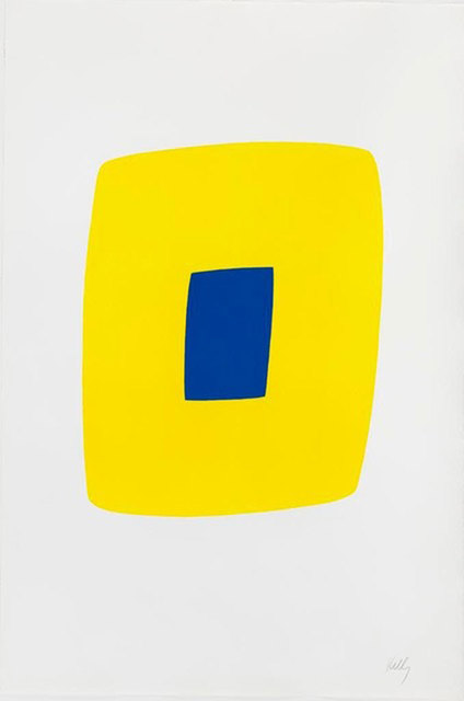 Ellsworth Kelly, 'Yellow with Dark Blue', 1964-1965, Print, Original lithograph in color on BFK RIVES paper, Robert Fontaine Gallery