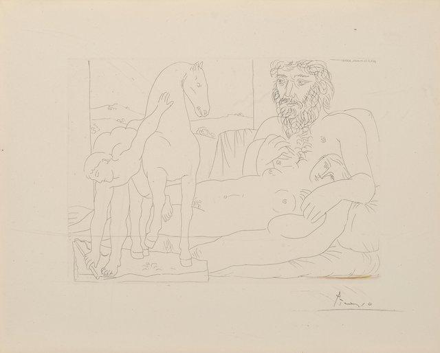 Pablo Picasso, 'Le Repos du sculpteur devant le jeune cavalier, from Suite Vollard, pl. 55', 1933, Heritage Auctions