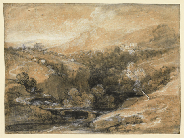 , 'Extensive Wooded Landscape with a Bridge over a Gorge, Distant Village and Hills,' ca. 1786, Clark Art Institute