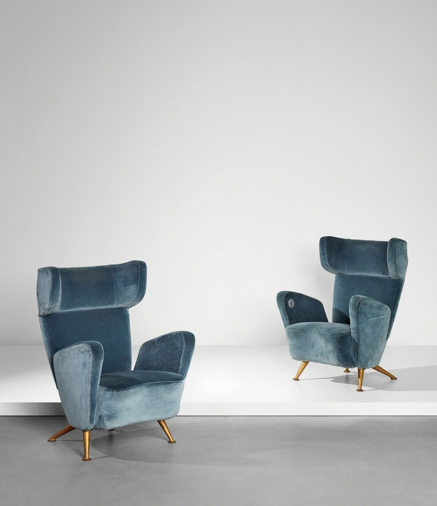 Gio Ponti  Pair of armchairs from the First Class carriages Giulio Minoletti