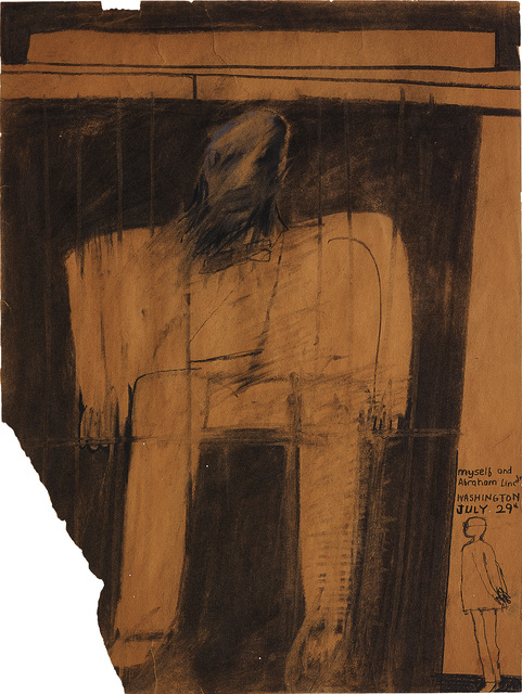 David Hockney, 'Myself and Abraham Lincoln', 1961, Drawing, Collage or other Work on Paper, Charcoal and chalk on paper, Phillips