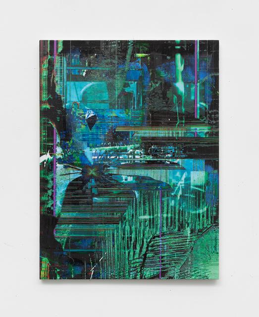 Chris Dorland, 'Untitled (zero day exploits)', 2019, Painting, Ink, acrylic, UV gel on Linen, Nicoletti Contemporary