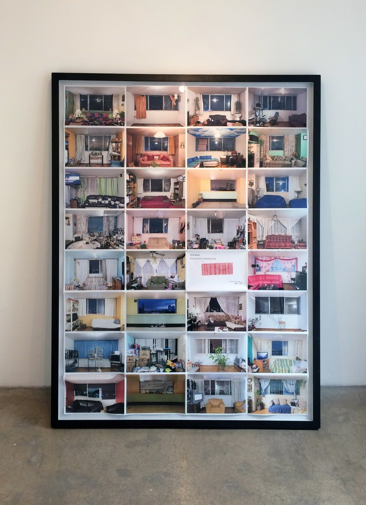 """A poster quality of a set of 32 images of the interior of apartments of the """"Tlatelolco desmentido"""" series, at the interior small gallery"""