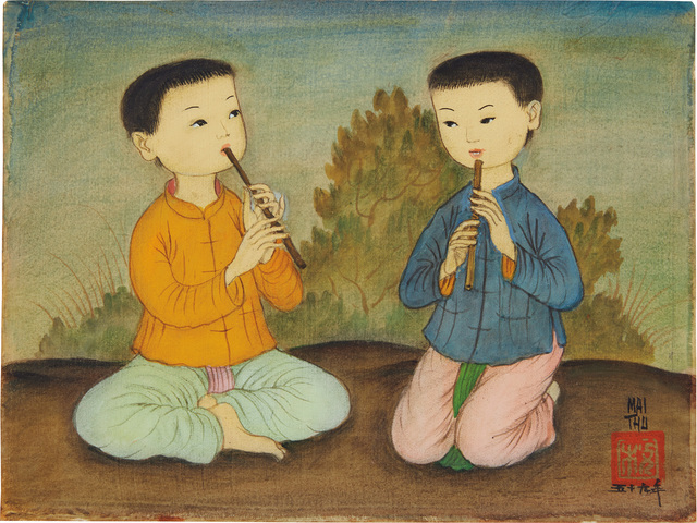 Mai Trung Thứ, 'Two Boys Playing the Flute', 1959, Mixed Media, Colour on silk laid down on cardboard, Phillips