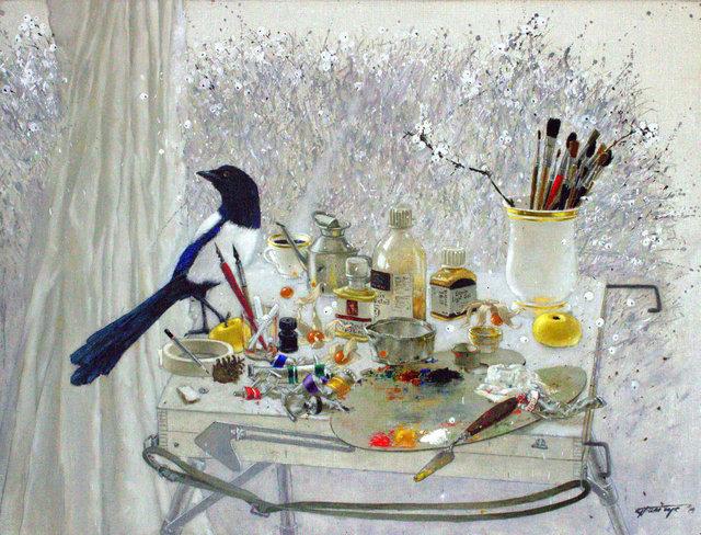 Tatyana Palchuk, 'Still Life with Magpie     ', 2014, Painting, Oil on Linen, Alessandro Berni Gallery
