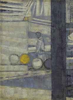 , 'Barrels in a Yard,' ca. 1955, Osborne Samuel
