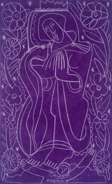 America Martin, 'Daisies for Our Lady Guadalupe', 2021, Drawing, Collage or other Work on Paper, White Clay Pencil on Handmade Paper, JoAnne Artman Gallery