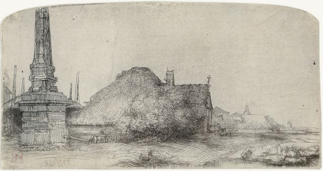 Rembrandt van Rijn, 'Cottage and Obelisk on the Spaarndammerdijk', 1650, Print, Original etching and drypoint printed in black ink on laid paper, Galerie d'Orsay
