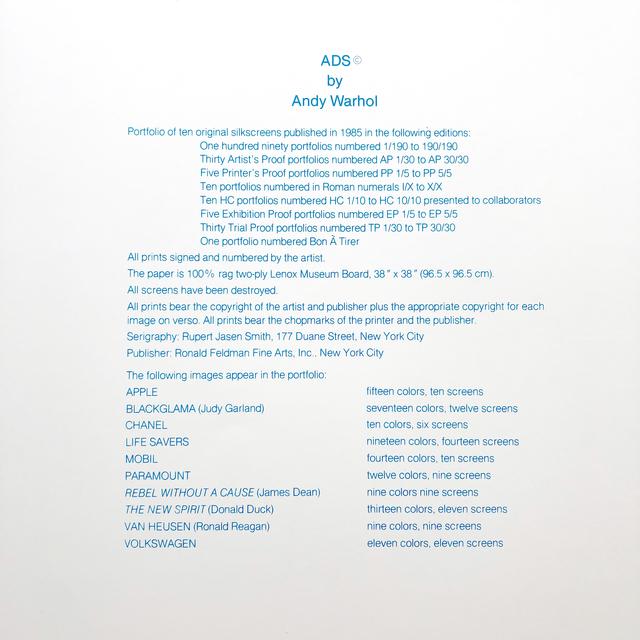 Andy Warhol, 'Ads Portfolio (F&S 350-359) colophon page ', 1985, Joseph K. Levene Fine Art, Ltd.