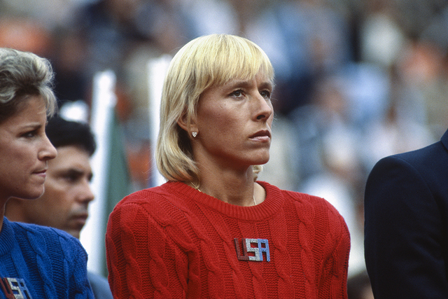 , 'Czech tennis player Martina Navratilova appears in her home country for the first time in USA team colours at the Federation Cup championships in Prague, Czechoslovakia.,' 1986, Ney Gallery & Prints
