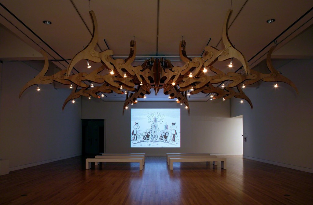 Implied Violence  Casey Curran, John DeShazo, and Ryan Mitchell The Dorothy K: Large Claw, 2010 Cardboard, wood, wire, rope, LED lights 192 x 204 x 204 in. Frye Art Museum, Gift of Implied Violence, 2011.001 Photo: Mark Woods