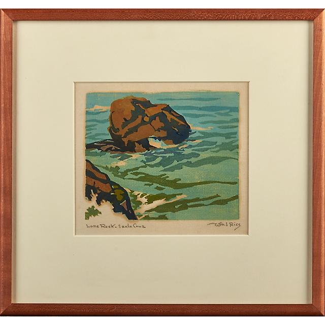 "William S. Rice, 'Four Works, California, Ca. 1920-40: ""Lone Creek - Santa Cruz,"" ""Lone Rock,"" ""The Reef,"" And ""The Wave""', ca. 1920-40, Rago/Wright"