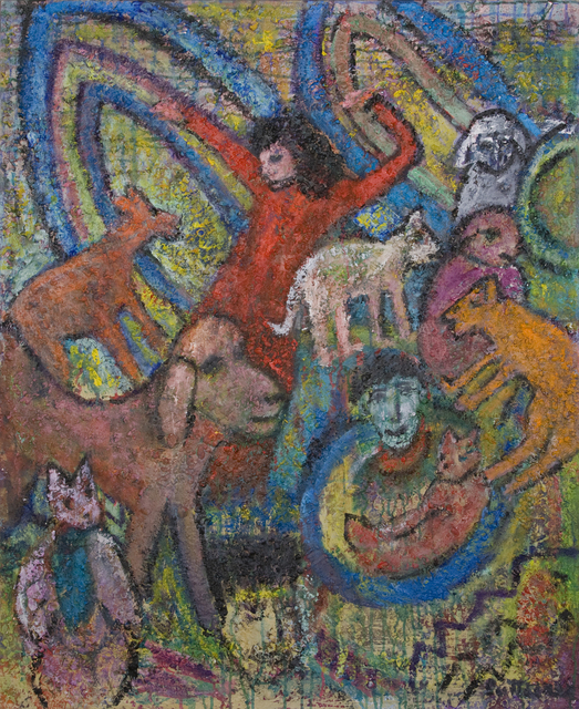 Florence Putterman, 'Gigi Me and Friends', 2010, Painting, Acrylic and Sand on Canvas, Walter Wickiser Gallery