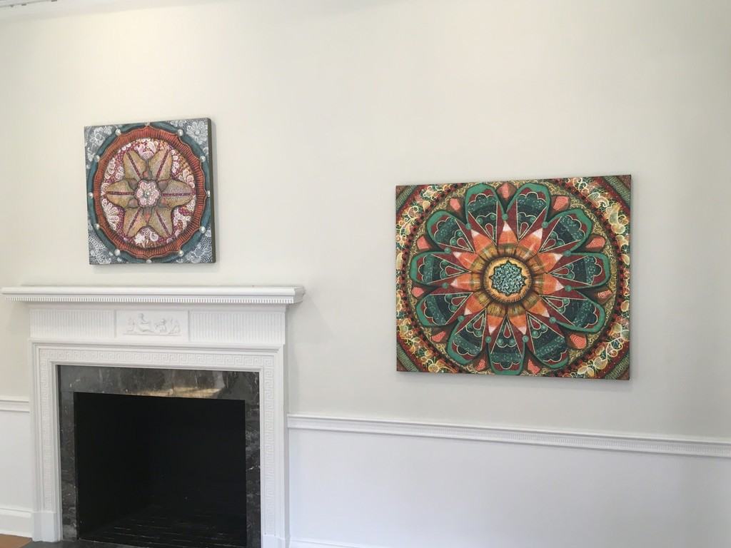 """On the left:  Synthetica, Oil on Canvas, 30x30 by Amy Cheng. On the right: AbOvo, oil on Canvas, 36x42 by Amy Cheng On view in Flora Fantastica! at Wave Hill from July 16-August 27, 2017.  """"I align myself with the long traditions of geometric and floral ornamentation that the Far East, the Middle East, the Byzantine and the Baroque have long employed. """" Amy Cheng"""
