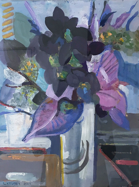 , 'Flowers Violet, Blue & Black,' 2015, Madelyn Jordon Fine Art