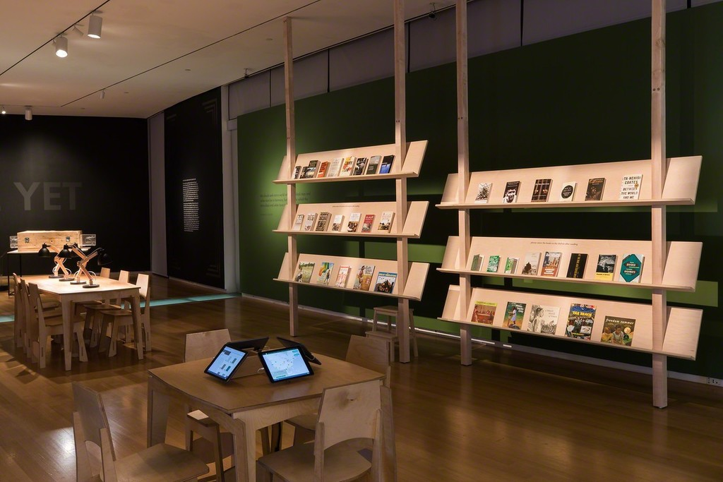 Installation view of 'Unpacking the Green Book: Travel and Segregation in Jim Crow America'
