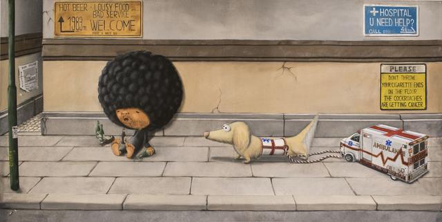 Shiro Utafusa, 'Kurukuruatama And The Rescue Dog', Painting, Oil on Canvas, Art WeMe Contemporary Gallery