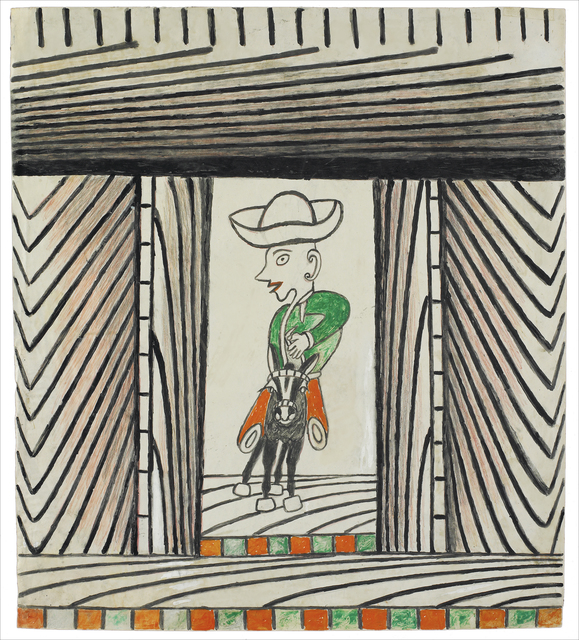 Martín Ramírez, 'Untitled (Man Riding Donkey)', c. 1960-63, Robert Berman Gallery