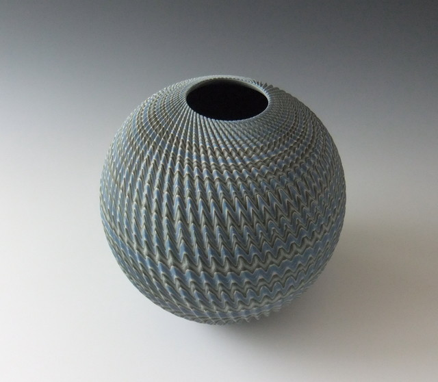 , 'Round neriage (marbleized) vessel with pleated surface,' 2014, Joan B. Mirviss Ltd.