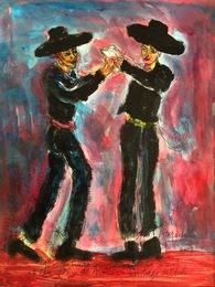 """Young huasos dancing """"La Cueca"""" on the Plaza de Armas in Santiago de Chile"""