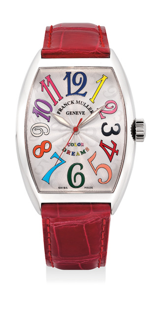 Frank Muller, 'A attractive white gold wristwatch with sweep center seconds and multi-colored numerals', 1990, Phillips