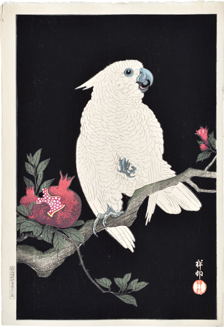 , 'Cockatoo and Pomegranate,' ca. 1927, Scholten Japanese Art